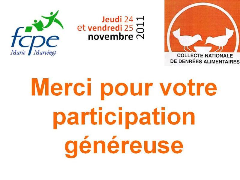 Remerciements collecte 2011