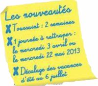Nouveautés calendrier 2012-2013