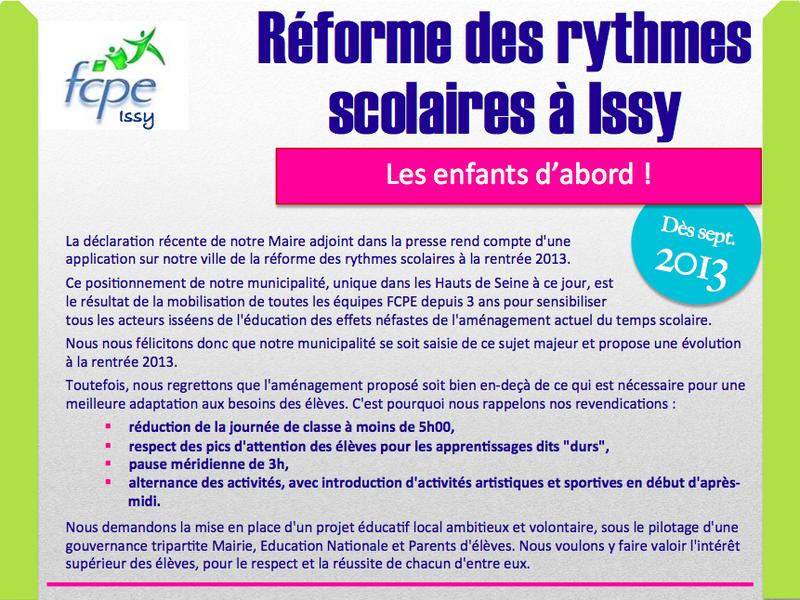 réforme rythmes scolaires issy sept.2013