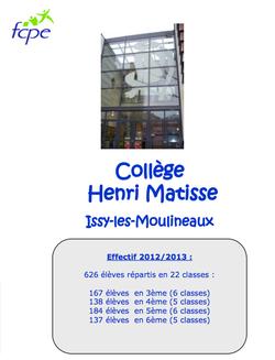 Livret d'accueil Matisse 2013