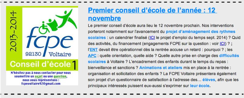 newsletter FCPE 1 conseil d'école 1