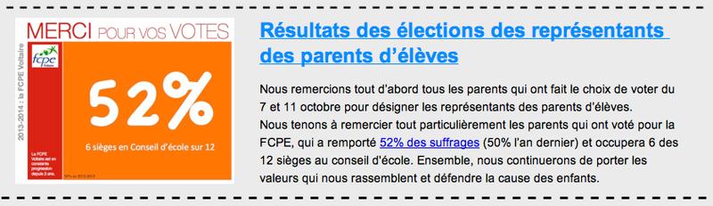 résultats élections FCPE 2013
