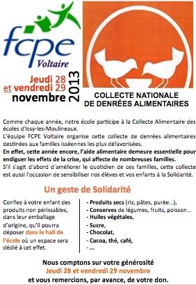 collecte banque alimentaire FCPE