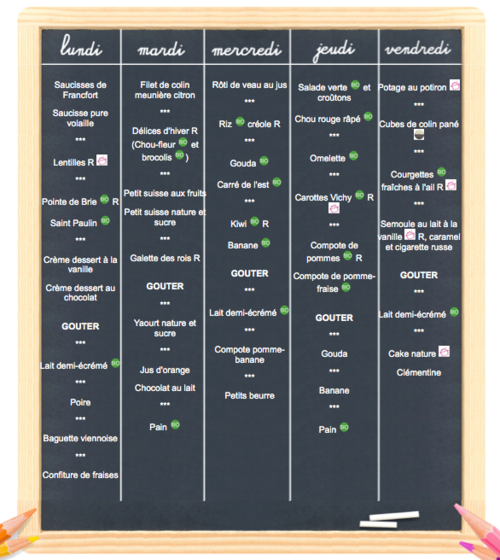 menu de la semaine Elior cantine FCPE