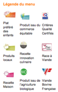 légende du menu Elior cantine scolaire Issy-les-Moulineaux