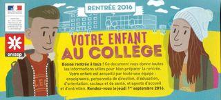 Votre enfant au collège 2016