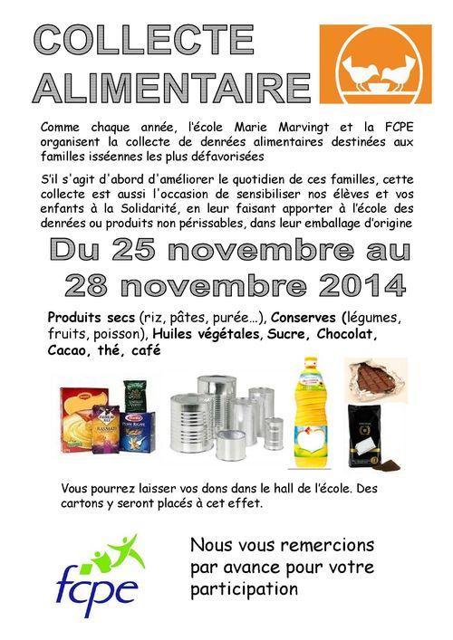 Affiche Collecte alimentaire 2014
