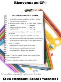 Liste fournitures 2016 La Fontaine blog