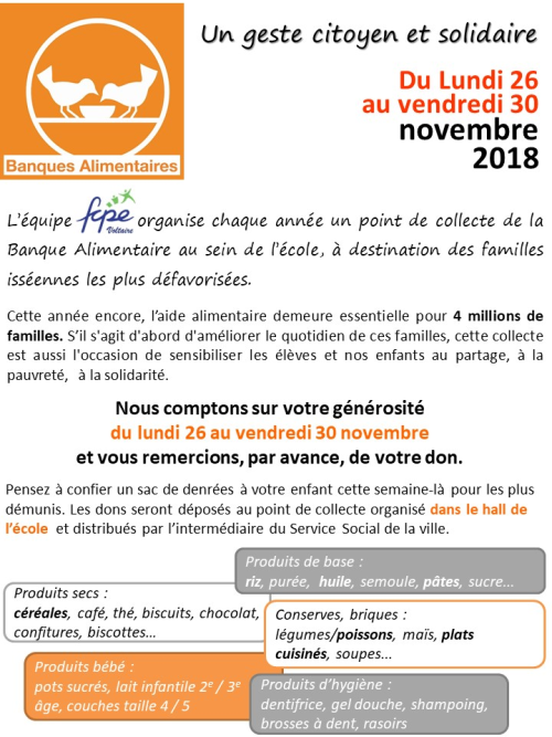 Flyer banque alimentaire 2018