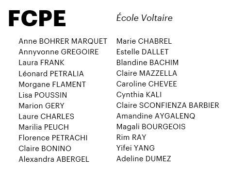 Bulletin de vote FCPE Voltaire 2020-2021