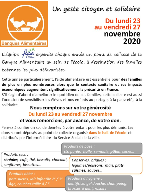 Flyer banque alimentaire 2020